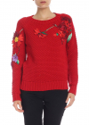 Pullover In Red With Floral Embroidery