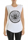 White Top With Branded Medallion Print