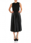 Midi Dress In Black With Pleated Skirt