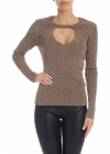 Lamé Wool Sweater In Brown
