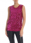 Red Jersey Top With Fuchsia Sequins