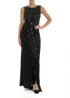 Sleeveless Dress In Black Jersey With Sequins