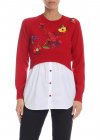 Red Pullover With Multicolor Floral Embroidery