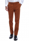 Cotton Blend Trousers In Orange