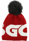 Red Knitted Beanie With Black Pom Pon