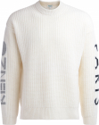 Sweater In White Wool With Logo On The Sleeves