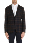 Dark Blue Single breasted Jacket With Checked Pattern