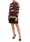 Multicolor Striped Dress With Tiger Embroidery