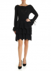 Knit Dress With Flounced Skirt In Black