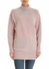 High neck Pullover In Powder Pink With Rhinestones