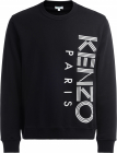 Sweatshirt In Black Cotton With Kenzo Paris Embroidery In White
