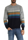 Blue And Melange Grey Pullover With Multicolor Detail