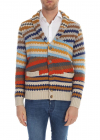 Beige Cardigan With Multicolor Pattern