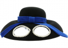 Black Hat With Glasses And Blue Ribbon