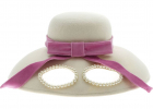 Cap In Ivory Color With Glasses And Pink Ribbon