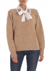 Pullover With Embroidered Collar In Camel Color