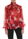 Pink Blouse With Red Floral Pattern