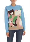 Light Blue Pullover With Multicolor Intarsia
