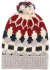 Beanie In Grey And Red With Pom pon