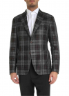 Grey And Brown Checked Single breasted Jacket