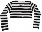 Striped Crop Cardigan In Black And White