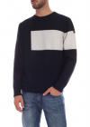 Blue Pullover With White Insert