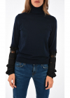 Frilled Sleeve Wool Lapizz Sweater