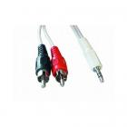Cablu Audio Stereo  Conectori Jack De 3.5mm La Rca  Lungime Cablu: 15m  Bulk  Alb  Gembird  cca 458 15m
