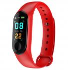 Bratara Smart Fitness Techstar® M3 Plus  Unisex   Monitorizarea Sangelui Si Ritmului Cardiac  Pentru Android Si Ios  Rosu