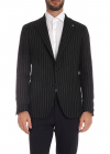 Striped Pattern Jacket Black And Anthracite
