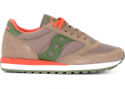 Jazz Model Sneaker Made Of Suede And Taupe Fabric With Orange And Green Details