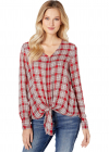 Front Tie Rayon Plaid Top