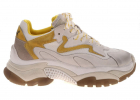 Addict Vintage Effect Sneakers In White And Yellow