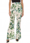 Floral Print Silk Pants In White