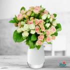 Buchet De 9 Minirosa Albi roz