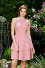 Rochie Starshiners Rosa Eleganta In Clos Din Stofa Usor Elastica Cu Volanase