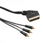 Cablu Video Hama Scart Male   3x Rca Male  1.5m  Negru