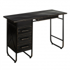Comoda Desk 3 Drawers Antique Black Metal 120 X 50 X 80 Cm