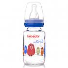 Biberon Din Sticla Bebe D or Cu Tetina Din Silicon 125 Ml Albastru