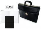 Set Servieta Neagra Piele Naturala Cu Trei Compartimente Si Note Pad Black Hugo Boss