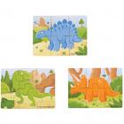 Set 3 Puzzle Din Lemn   Dinozauri
