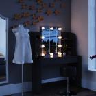 Sen221   Set Masa Neagra Toaleta Cosmetica Machiaj Oglinda Masuta Vanity  Oglinda Cu Led Si Rafturi