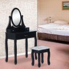 Sen121   Set Masa Neagra Toaleta Cosmetica Machiaj Oglinda Masuta  Scaun Taburet Tapitat Vanity  Make up