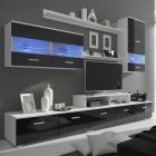 Vitrină lucioasă cu unitate TV și iluminare LED, 7 buc, 250 cm, negru