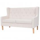 Canapea cu 2 locuri, material textil, alb crem