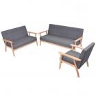 Set canapea din 3 piese, material textil, gri închis
