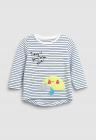 Bluza Cu Decolteu La Baza Gatului Si Imprimeu Grafic Si In Dungi