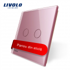 Panou Intrerupator Dublu Cu Touch Livolo Din Sticla