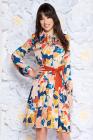 Rochie Prettygirl Maro De Zi In Clos Din Material Satinat Cu Elastic In Talie Accesorizata Cu Cordon