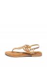 Sandale De Piele Cu Bareta Separatoare Decorata Cu Strasuri
